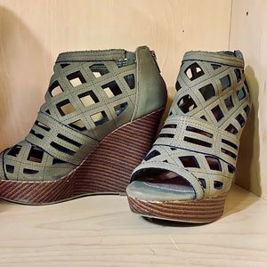 Olive Faux Leather and Wood Wedges
